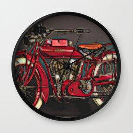 Vintage US Motorbike - Red Wall Clock