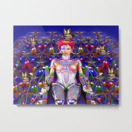 Robot Butterfly Metal Print