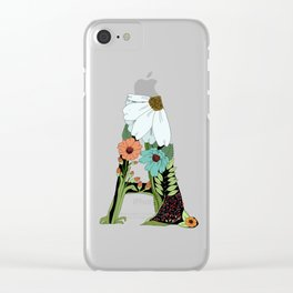 Floral Letter A Clear iPhone Case