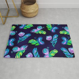 Green Pink Navy Butterfly Flower Leaves Watercolor Rug