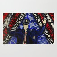 """police Area & Throw Rugs featuring """"Police Yourself"""" by Matthew Z Kessler"""