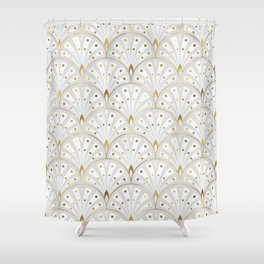 marble and gold art deco scales pattern Shower Curtain