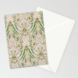 Green Pink Leaf Flower Paisley Stationery Cards