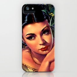 Jesus Helguera Painting of a Sultry Spanish Calendar Girl iPhone Case