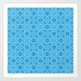 Modern Caribbean Blue Boho Lace Mandala Print Art Print
