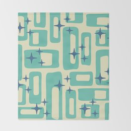 Retro Mid Century Modern Abstract Pattern 577 Turquoise Blue Throw Blanket