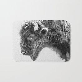 Animal Photography | Bison Portrait | Black and White | Minimalism Bath Mat