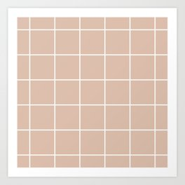 Grid pattern on dusty pink Art Print