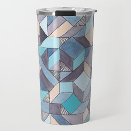 Shifitng Geometric Pattern in Blue Travel Mug