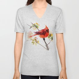 Cardinal Bird in Spring Unisex V-Neck