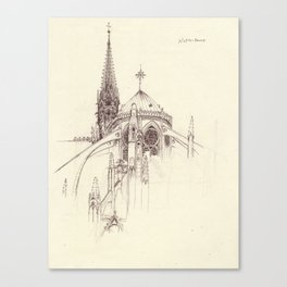 Notre Dame Cathedral Sketch Canvas Print