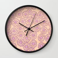 daisies Wall Clocks featuring daisies by clemm