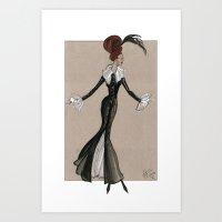 Fashion Illustration - Long black & white gown Art Print