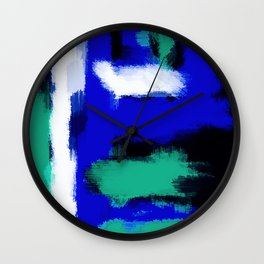 blue green and white painting texture with black background Wall Clock