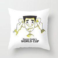 world cup Throw Pillows featuring Mummy Daddy's World cup by Jyoti Khetan
