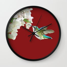 Ruby-Throated Hummingbird at the Blossom Wall Clock