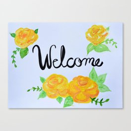 Watercolor Welcome Sign Canvas Print
