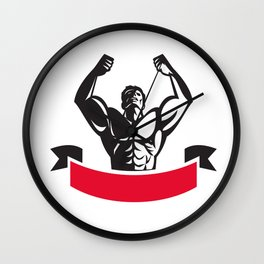 Body Builder Flexing Muscles Banner Retro Wall Clock