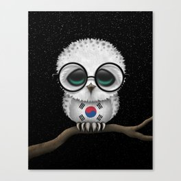 Baby Owl with Glasses and South Korean Flag Canvas Print
