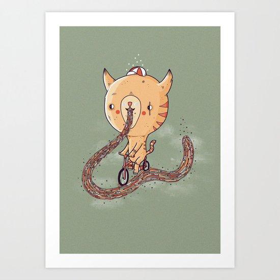 Cat sick trail Art Print