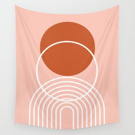 Geometric Lines in Terracotta Rose Gold 6 (Rainbow and Sun Abstract) Wall Tapestry