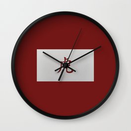 Chinese zodiac sign Tiger red Wall Clock