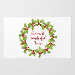 Christmas Holly Wreath The Most Wonderful Time Rug