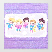shinee Canvas Prints featuring SHINee Sleepover by sophillustration
