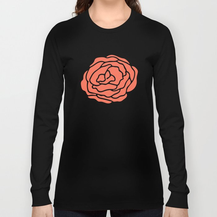 Rose Deep Coral on White Long Sleeve T-shirt