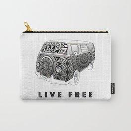 """Bus Life"" B&W Mandala Illustration Carry-All Pouch"