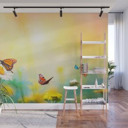 Flowers With Butterflies in the spring garden illustration Wall Mural