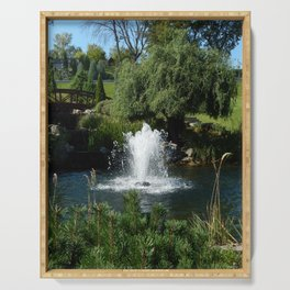 Waterfall in the garden and water fountains Serving Tray