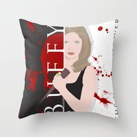buffy Throw Pillows featuring Buffy, the vampire slayer by Rose's Creation
