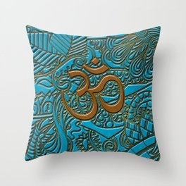 Brown on Teal Leather Embossed OM symbol Throw Pillow