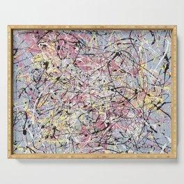 Crescendo - Jackson Pollock style abstract drip canvas art by Rasko Serving Tray