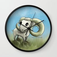 aries Wall Clocks featuring Aries by Kitsune Arts