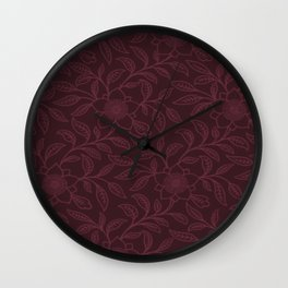 Tawny Port Lace Floral Wall Clock