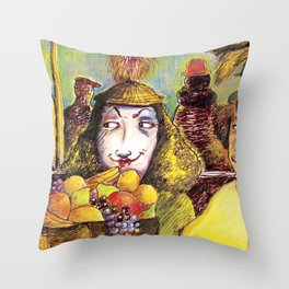 Fruit Hats and Feathers Throw Pillow