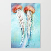jelly fish Canvas Prints featuring Jelly Fish  by Felicia Cirstea