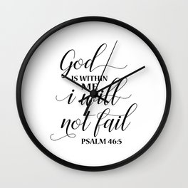 Christian,Bible Quote,God is within me I will not fail Wall Clock