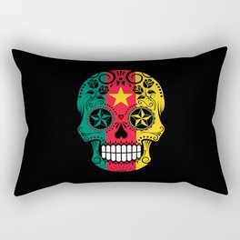 Sugar Skull with Roses and Flag of Cameroon Rectangular Pillow