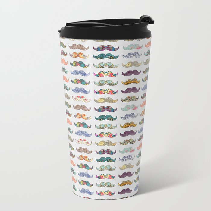 Mustache Mania Metal Travel Mug