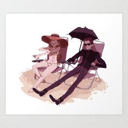 Hades and Persephone at the beach Art Print