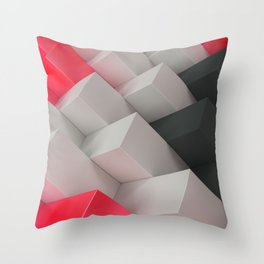 Pattern with black, white and red blocks Throw Pillow