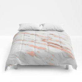 Marble - Rose Gold Marble with White Gold Foil Pattern Comforters