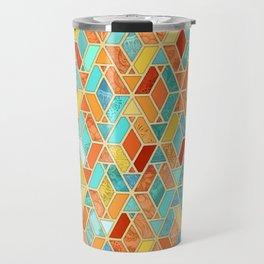 Tangerine & Turquoise Geometric Tile Pattern Travel Mug