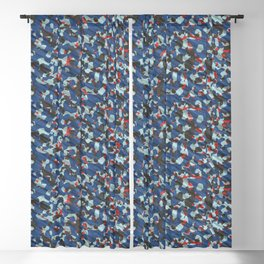 Gray Blue Red Army Camouflage Blackout Curtain