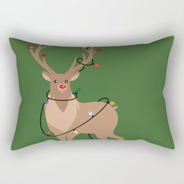Rudolph Red Nosed Reindeer happy with his Favorite Christmas Lights Rectangular Pillow