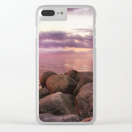 Stones by seaside Clear iPhone Case