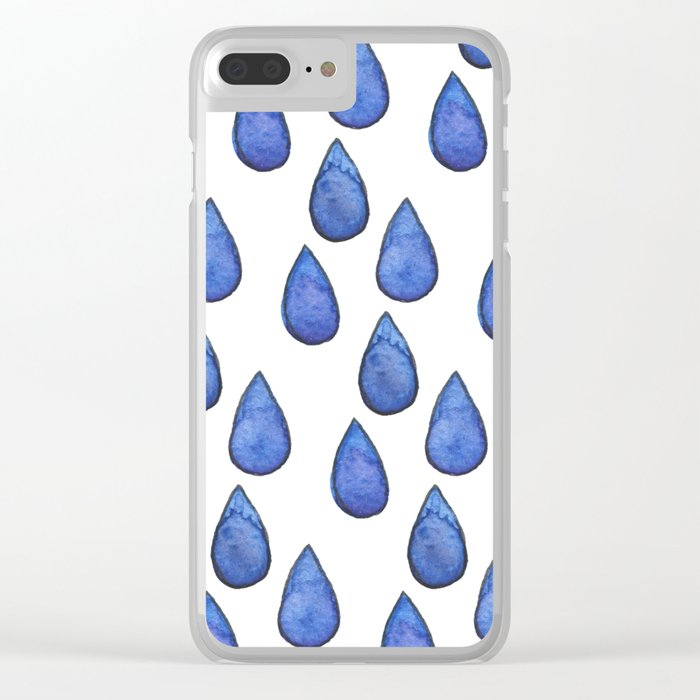 Watercolor raindrops Clear iPhone Case
